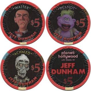 $5 Casino Chip Jeff Dunham Planet Hollywood Set Lot 3 Achmed Walter Peanut Show