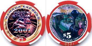 RAMADA EXPRESS  LAUGHLIN 2001 INTERNATIONAL RALLY   $5  CASINO CHIP